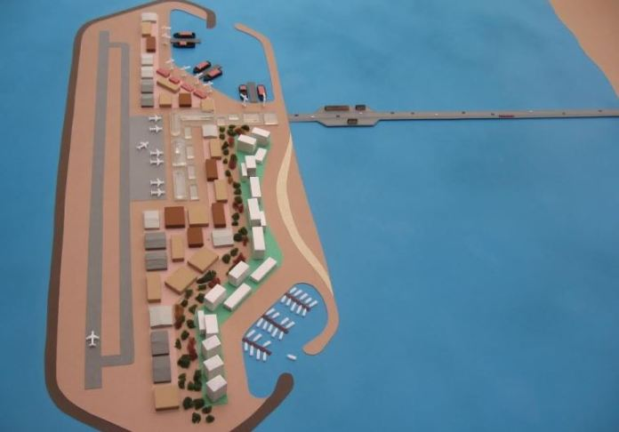 Gaza island model as presented on June 20, 2016. (photo credit:COURTESY/THE ISRAEL PROJECT)